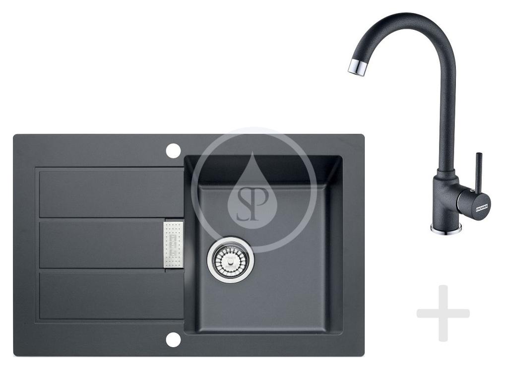 Franke Sety Kuchyňský set T26, tectonitový dřez SID 611-78, černá + baterie FP 9900, černá 114.0366.030