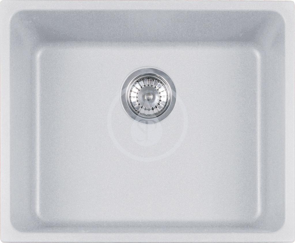 Franke Kubus Granitový dřez KBG 110-50, 540x440 mm, bílá-led 125.0176.650