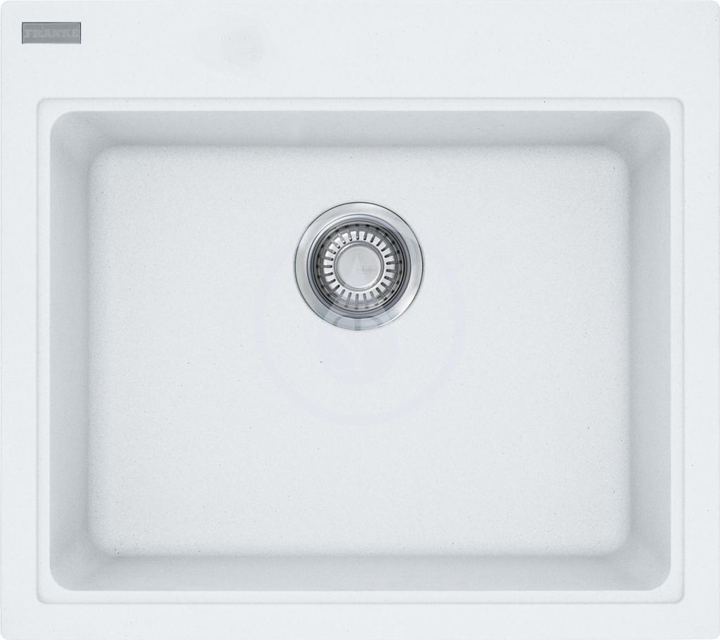 Franke Kubus Granitový dřez KSG 238, 585x520 mm, bílá-led 114.0285.229