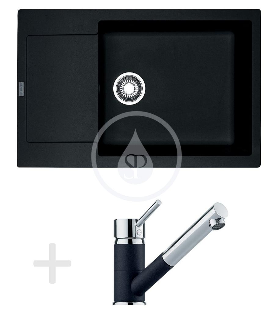 Franke Sety Kuchyňský set G78, granitový dřez MRG 611-78 BB, onyx + baterie FG 7486, onyx 114.0365.699