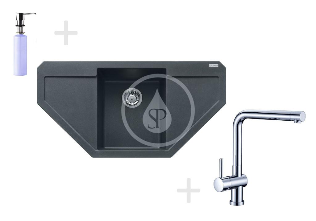 Franke Sety Kuchyňský set G85, granitový dřez MRG 612 E, grafit + baterie Samoa, chrom + dávkovač FD 300 114.0365.821