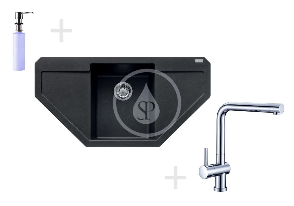 Franke Sety Kuchyňský set G85, granitový dřez MRG 612 E, onyx + baterie Samoa, chrom + dávkovač FD 300 114.0365.823