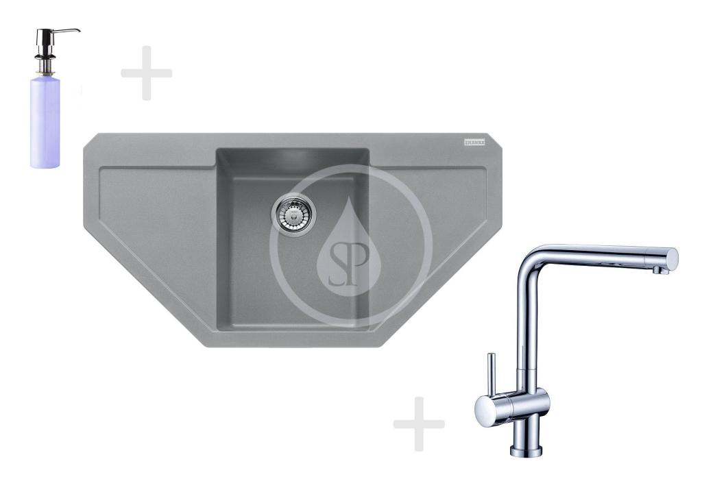 Franke Sety Kuchyňský set G85, granitový dřez MRG 612 E, šedý kámen + baterie Samoa, chrom + dávkovač FD 300 114.0365.828