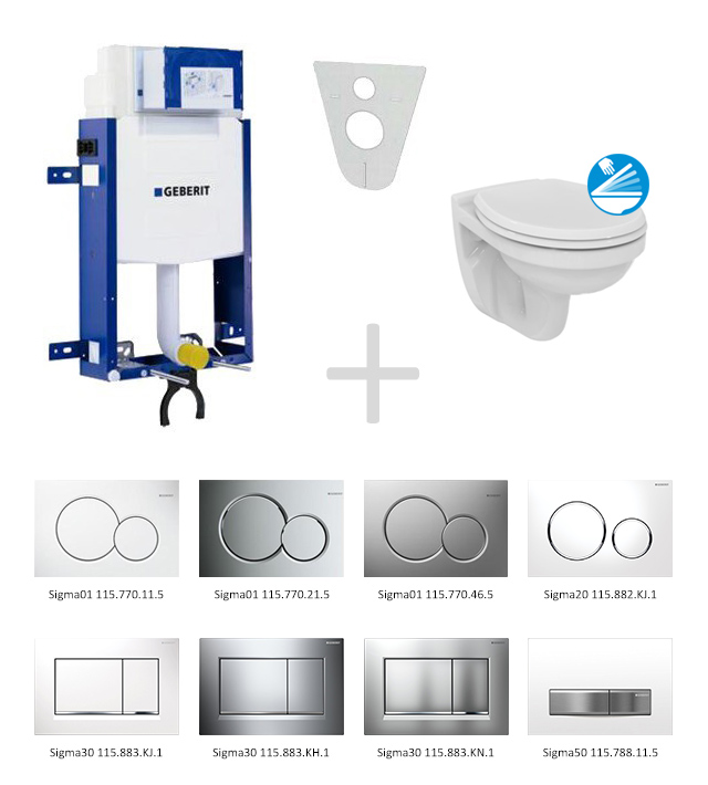 Geberit Kombifix Sada pro závěsné WC 110.302.00.5 ND + klozet a sedátko Ideal Standard Quarzo - sada s tlačítkem Sigma01, bílé 110.302.00.5 ND1