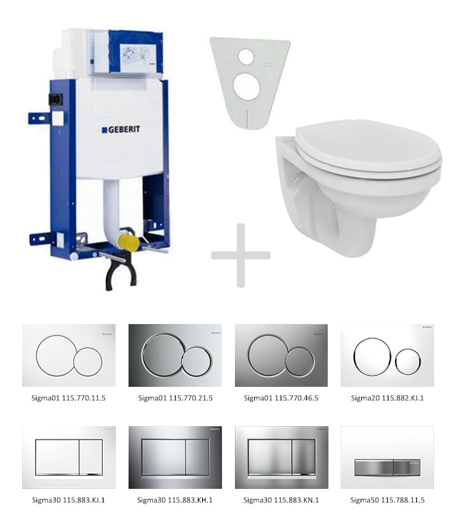 Geberit Kombifix Sada pro závěsné WC 110.302.00.5 NR + klozet a sedátko Ideal Standard Quarzo - sada s tlačítkem Sigma50, výplň bílá 110.302.00.5 NR8