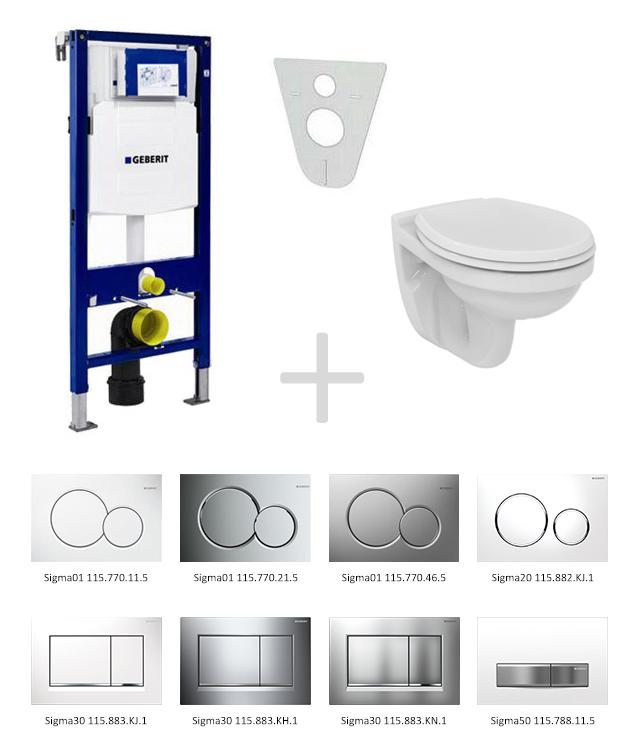 Geberit Duofix Sada pro závěsné WC 111.300.00.5 NR + klozet a sedátko Ideal Standard Quarzo - sada s tlačítkem Sigma01, bílé 111.300.00.5 NR1