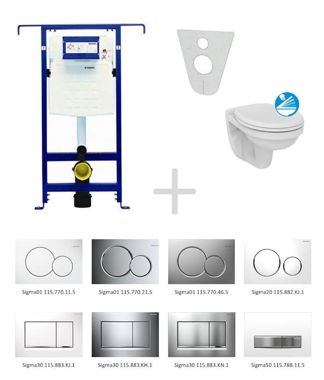 Geberit Duofix Sada pro závěsné WC 111.355.00.5 ND + klozet a sedátko Ideal Standard Quarzo - sada s tlačítkem Sigma01, bílé 111.355.00.5 ND1