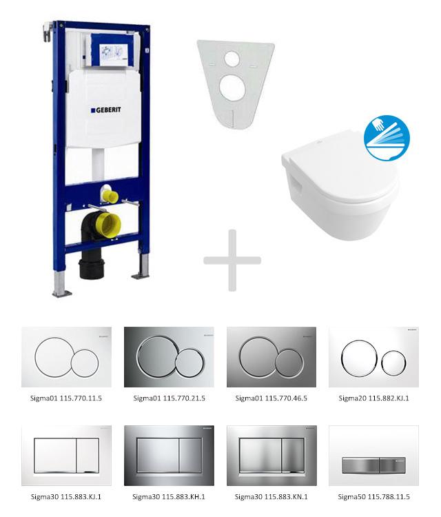 Geberit Duofix Sada pro závěsné WC 111.300.00.5 NB + klozet a sedátko Villeroy & Boch - sada s tlačítkem Sigma01, bílé 111.300.00.5 NB1