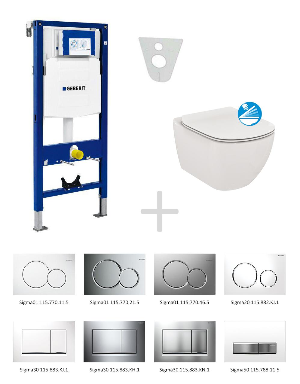 Geberit Duofix Sada pro závěsné WC 111.300.00.5 NE + klozet a sedátko Ideal Standard Tesi - sada s tlačítkem Sigma01, bílé 111.300.00.5 NE1