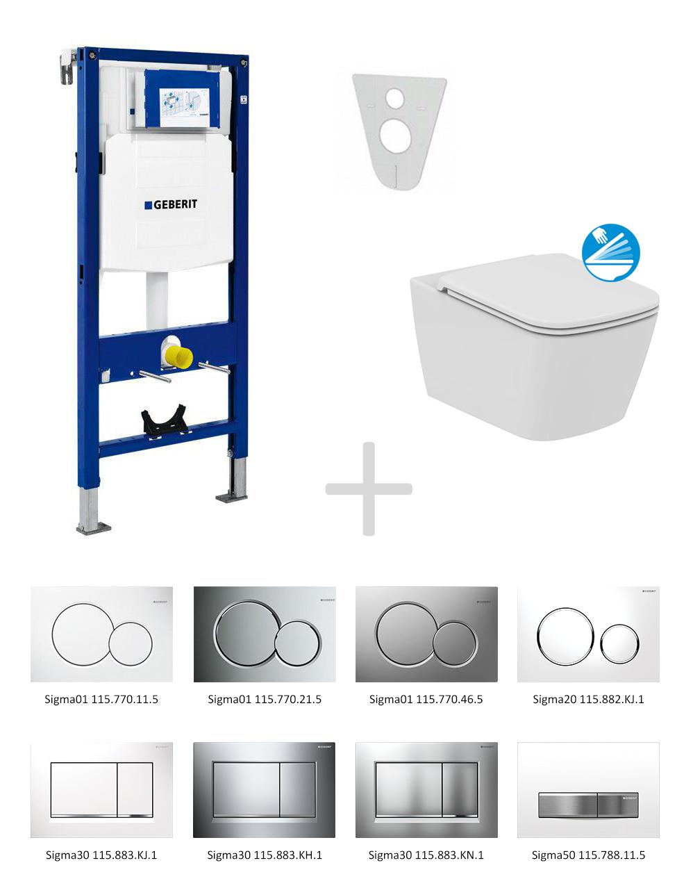 Geberit Duofix Sada pro závěsné WC 111.300.00.5 NG + klozet a sedátko Ideal Standard Mia - sada s tlačítkem Sigma01, bílé 111.300.00.5 NG1