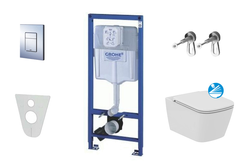 Grohe Rapid SL Sada pro závěsné WC + klozet a sedátko Ideal Standard Mia 38528SET-KG