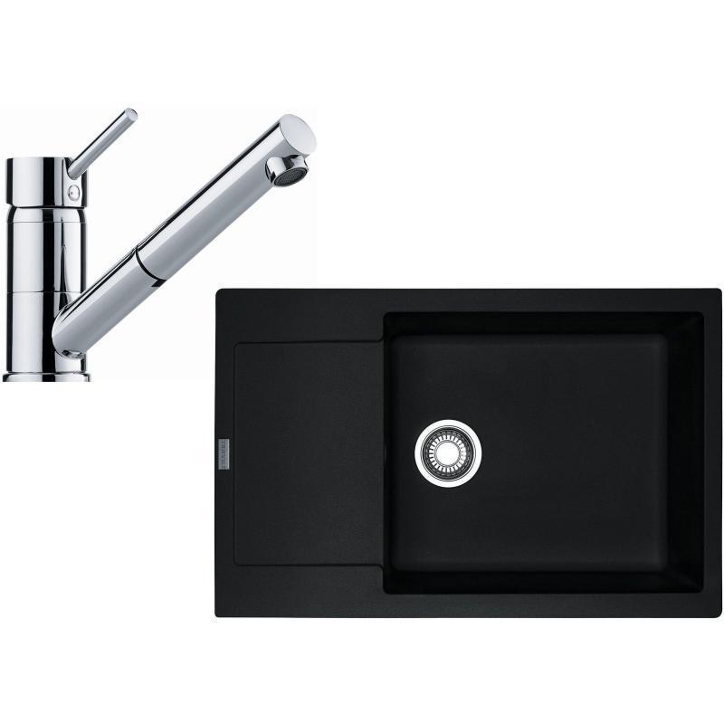 Franke Sety Kuchyňský set G106, granitový dřez MRG 611-78 BB, onyx + baterie FG 7486.031, chrom 114.0439.666