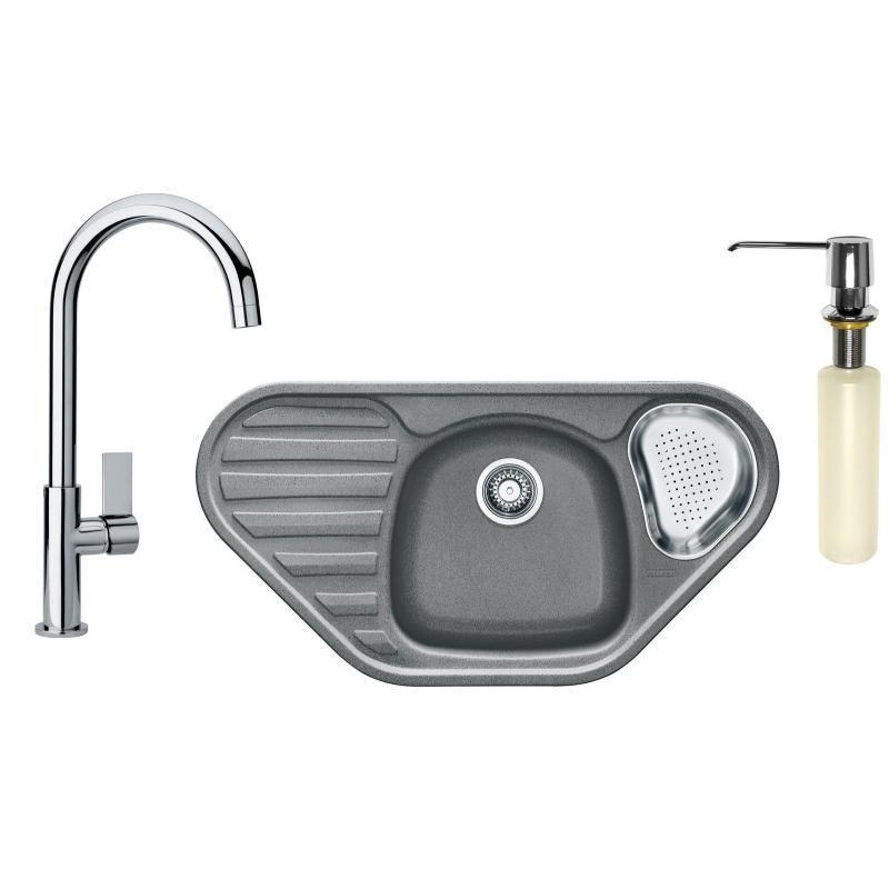 Franke Sety Kuchyňský set G123, granitový dřez COG 651 E, šedý kámen + baterie FP 0408.031, chrom + dávkovač FD 300 114.0440.279