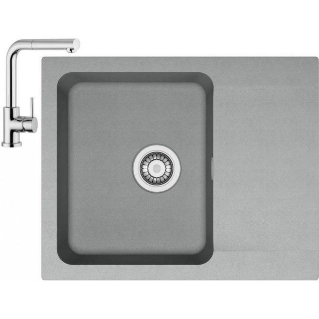 Franke Sety Kuchyňský set T24, tectonitový dřez OID 611-62, šedá + baterie FN 0147.031, chrom 114.0425.789