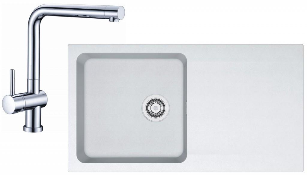 Franke Sety Kuchyňský set T39, tectonitový dřez OID 611, bílá + baterie SAMOA 114.0441.295