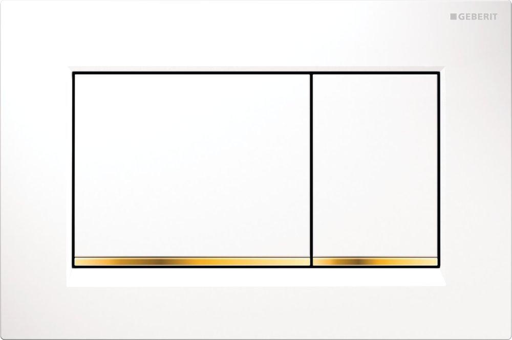 Geberit Ovládací tlačítko Sigma30, bílá/pozlacená/bílá 115.883.KK.1