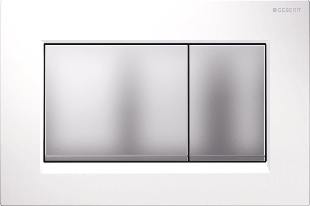 Geberit Ovládací tlačítko Sigma30, bílá/pochromovaná matná/pochromovaná matná 115.883.KL.1