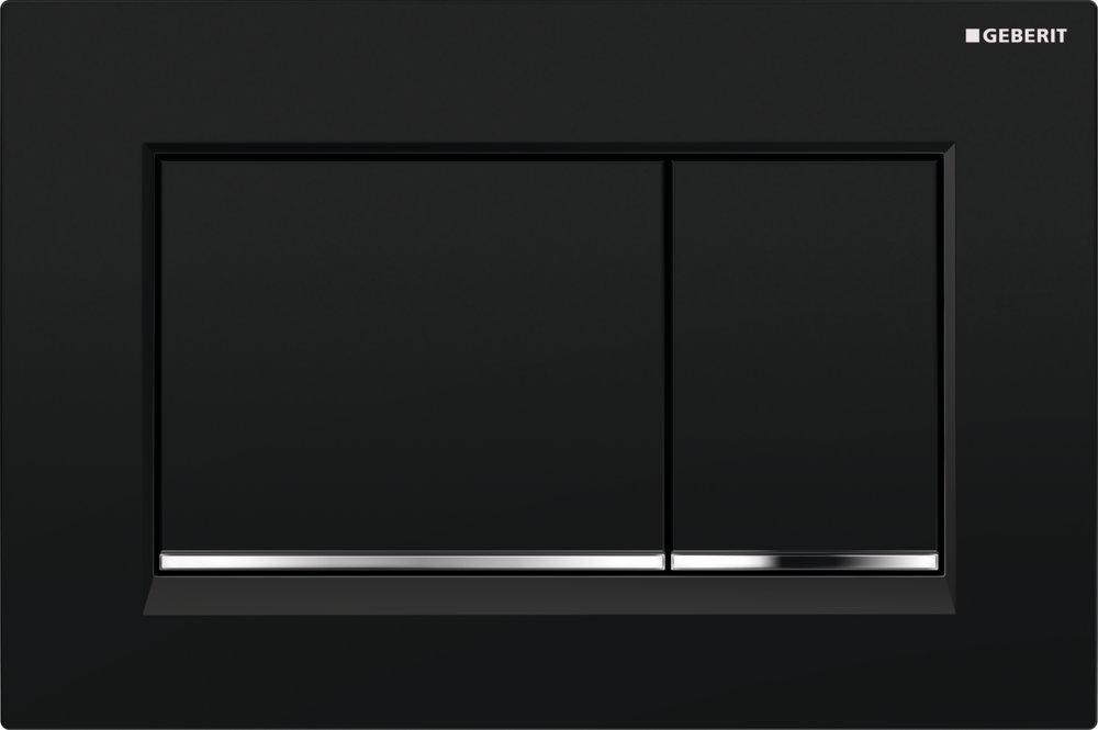 Geberit Ovládací tlačítko Sigma30, černá/pochromovaná lesklá/černá 115.883.KM.1
