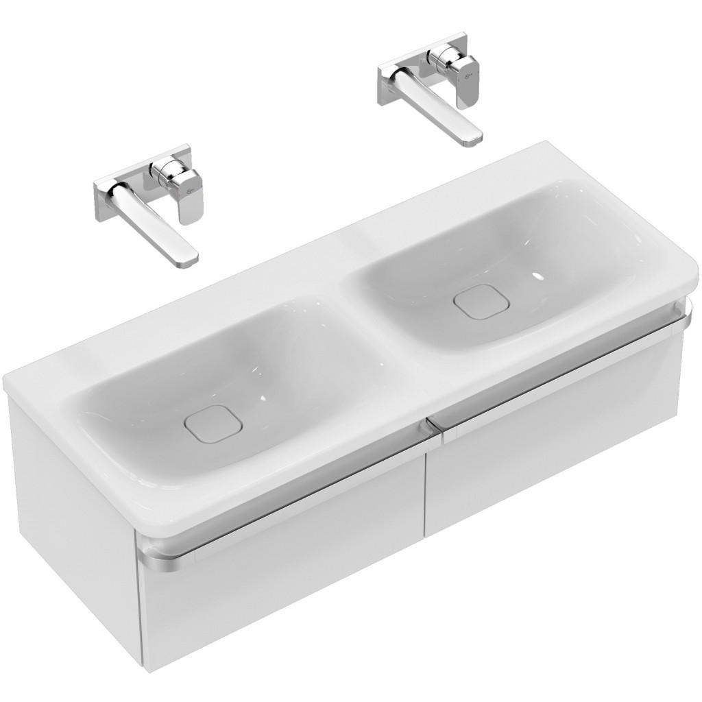 Ideal Standard Nábytkové dvojumyvadlo 1215 x 490 x 170 mm, bez otvoru - pro kombinaci s umyvadlovou skříňkou Tonic II, s Ideal Plus, bílá K0871MA