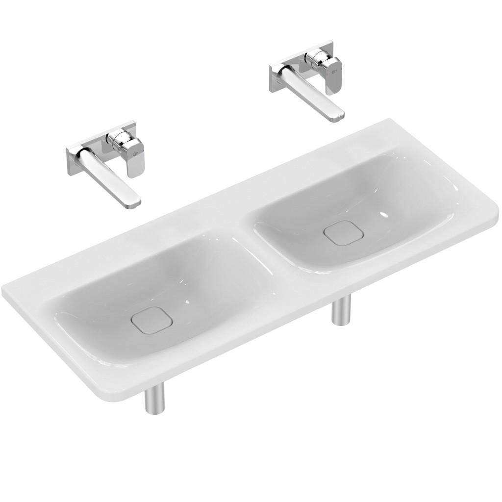 Ideal Standard Tonic II Nábytkové dvojumyvadlo 1215 x 490 x 170 mm, bez otvoru, s Ideal Plus, bílá K0874MA