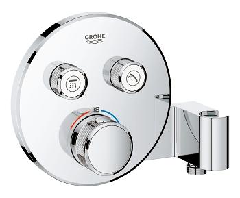 Grohe Grohtherm SmartControl Termostatická vanová baterie pod omítku se dvěma ventily a integrovaným držákem na sprchu, chrom 29120000