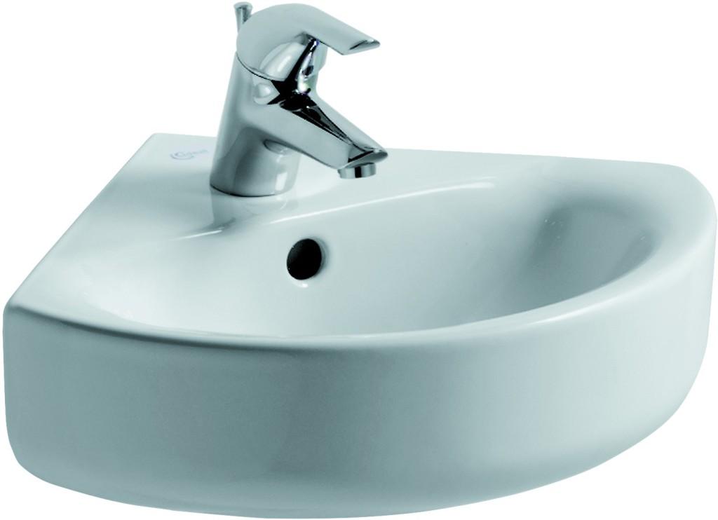 Ideal Standard Connect Rohové umývátko 340 x 340 mm, bílá s Ideal plus E7136MA