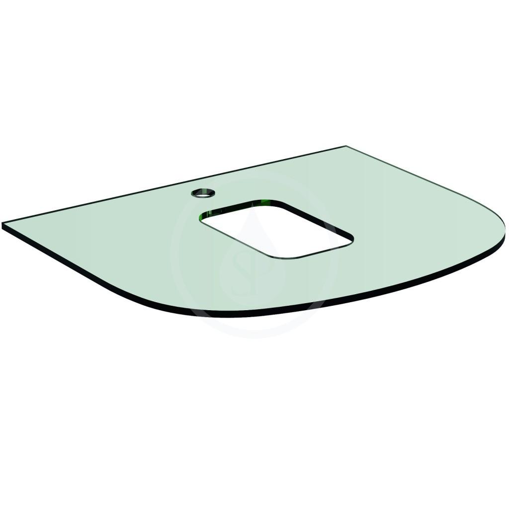 Ideal Standard Dea Vrchní skleněná deska 600 x 10 x 500 mm, s otvorem pro baterii (pod umyvadlo T0443), bílá T7866SA