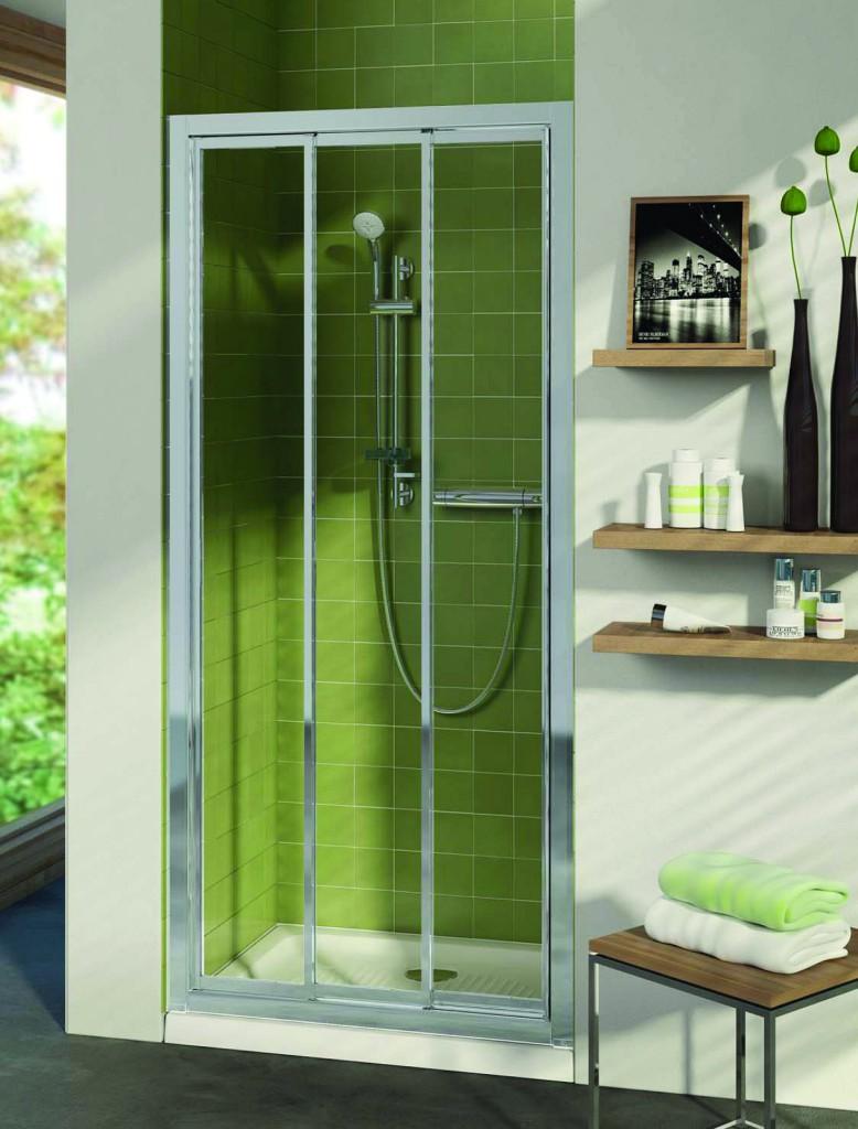 Ideal Standard Connect Sprchové dveře posuvné (3-dílné) 80 cm, matné sklo, silver bright (lesklá stříbrná) T9874EO