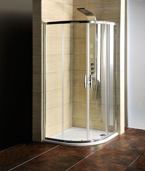 Čtvrtkruhová sprchová zástěna s vaničkou z litého mramoru 900x900x1900mm, čiré sklo se zárukou 3 roky