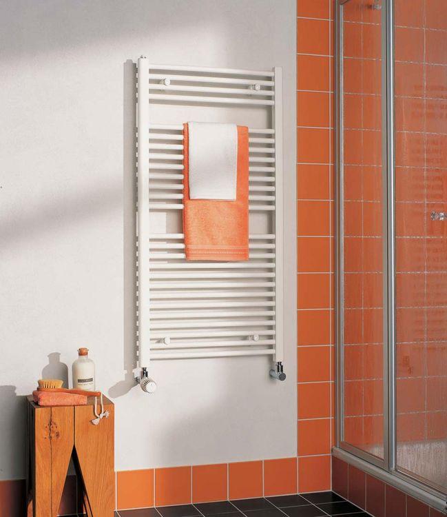 KERMI - LS01M1200452XXK / B-20 SM, koupelnový radiátor rovný, se středovým připojením 1200x450mm, bílá