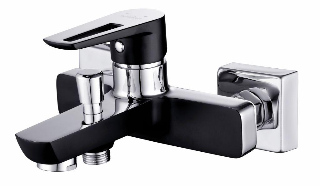 CERSANIT - Vanová baterie se sprchou MILLE jednopáková, dvouotvorová, nástěnná, s pevným výtokovým ramínkem, s přepínačem, CHROM/ČERNÁ (S951-009 )