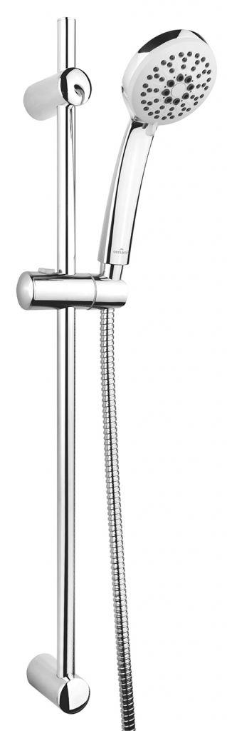 CERSANIT - Sprchová souprava s tyčí a posuvným držákem VIBE, 3 funkční, průměr ruční sprchy 8,5cm, kovová hadice dlouhá 150cm, kovová tyč 70cm s posuvným držákem a montážní sadou (S951-021 )
