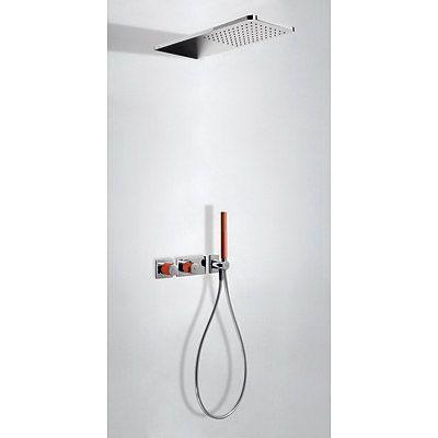 TRES - Podomítkový termostatický sprchový set BLOCK SYSTEM s uzávěrem a regulací průtoku (2-cestn (20735202RO)