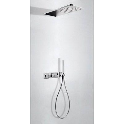 TRES - Podomítkový termostatický sprchový set BLOCK SYSTEM s uzávěrem a regulací průtoku (2-cestn (20735202BL)