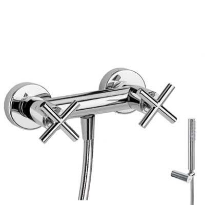 TRES BIMAX-TRES Nástěnná sprchová baterie, hadice, ruční sprcha, Držák, chrom (163868)