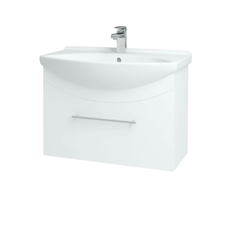 Dřevojas - Koupelnová skříňka WIND 75 S - L01 Bílá vysoký lesk / Úchytka B (50620)