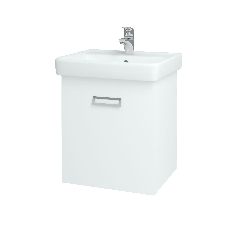 Dřevojas - Koupelnová skříňka Q MONO 550 S - L01 Bílá vysoký lesk (61374)